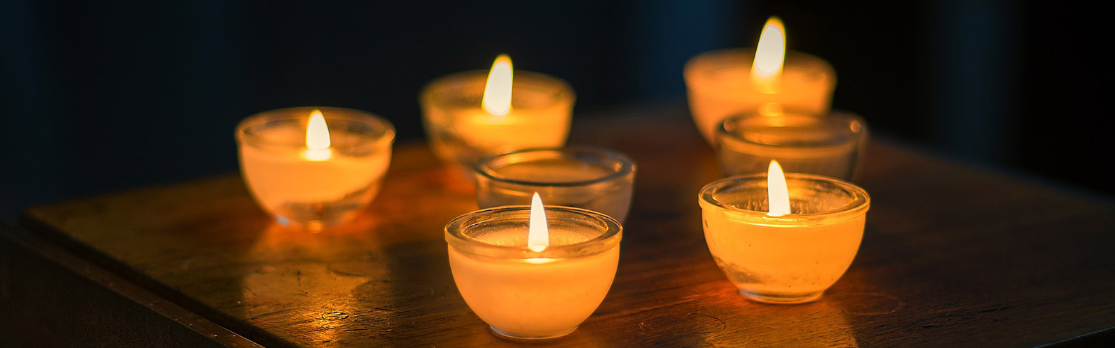 Group of sensual lit candles