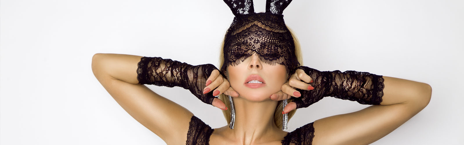 Woman in sexy bunny ear costume