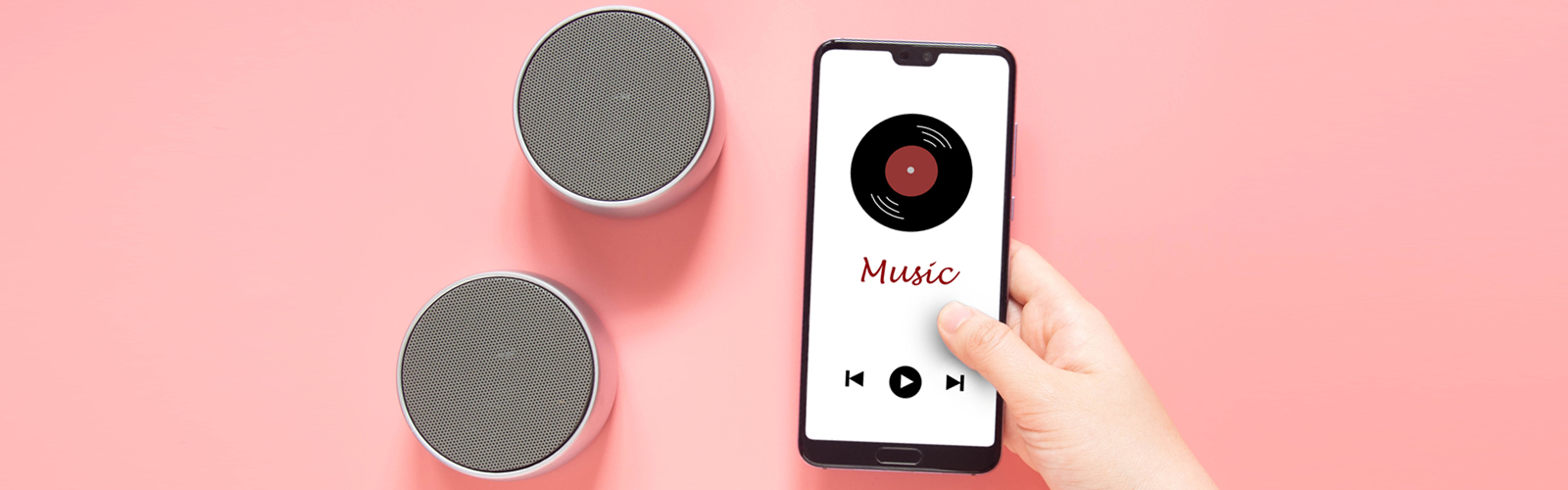 Phone and speakers playing music